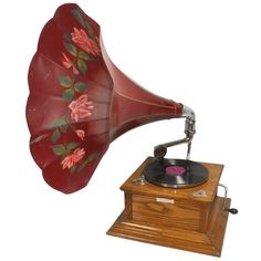 """Victrola w/metal morning glory horn, orig metal tag reads """"So. Cal. ❤ liked on Polyvore featuring music, fillers, furniture, backgrounds and home"""