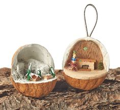 You can turn a walnut shell into a setting for a miniature winter scene. Carvings by Larry Guay. Learn more about the projects in Scroll Saw Woodworking & Crafts Holiday 2015 (Issue 61) at http://woodcarvingillustrated.com/blog/woodcarving-illustrated-fall-2015-issue-72/.