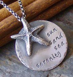 Sun Sea Sand Serenityhand stamped sterling by cinnamonsticks, $50.00
