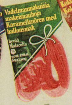 Vadelmanmakuisia makeisnauhoja 1981