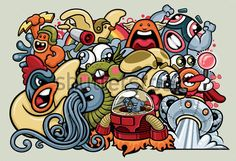 vector-graffiti-style-illustration-of-a-variety-of-cute-and-cuddly-characters-uniting-to-fight-for-the-common-good_30617224.jpg 450×307 pixels
