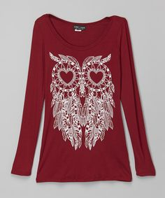 Loving this Red & White Owl Hi-Low Tee on #zulily! #zulilyfinds