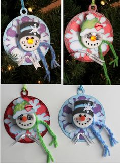 us on old CD - tea light snowman pin Christmas Ornaments To Make, Noel Christmas, Christmas Projects, Winter Christmas, Holiday Crafts, Holiday Fun, Christmas Decorations, Snowman Ornaments, Christmas Ideas