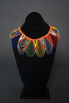 Zulu Beaded Lace Necklace by HouseofYimama on Etsy Beaded Collar, Beaded Lace, Beaded Embroidery, Lace Necklace, Beaded Earrings, Beaded Jewelry, Jewellery, African Jewelry, Tribal Jewelry