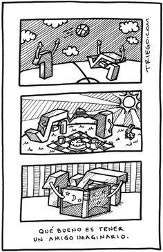 Amigo imaginario, esta fue mi caricatura número 100 en triego.com