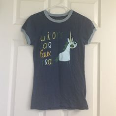 "Threadless ""Unicorns are faux real"" t-shirt. Super cute tee by Threadless.  Size small.  Shirt reads, ""Unicorns are faux real"". Threadless Tops Tees - Short Sleeve"