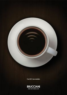 Brucciani: Free Wi-Fi now available #Advertising #Cup #Cafe