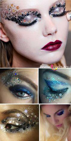 Aprenda como usar e aplicar de forma correta o glitter, paetês, chatons, strass, plumas e acessórios para uma make com brilho para o carnaval.