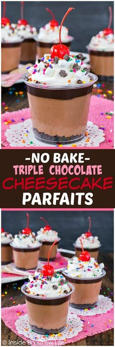 No Bake Triple Chocolate Cheesecake Parfaits - three layers of chocolate goodness, sprinkles, and cherries make this such a fun recipe to make for any party or celebration!