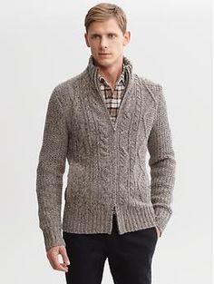 Heritage cable-knit sweater jacket | Banana Republic | $150