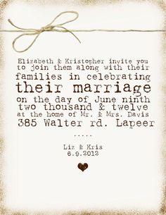 Wedding invitation wording that wont make you barf Invitation