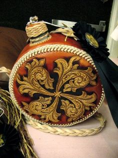 Tooled leather wrapped canteen by Patrick Earnst