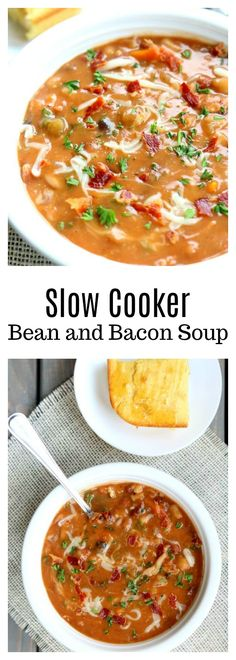 Slow Cooker Bean and Bacon Soup–dried beans are cooked all day in your slow cooker along with carrots, celery, garlic and bacon. A simple but seriously delicious soup that will leave you wanting seconds (and the leftovers the next day are even better than the first day).