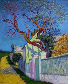 'The Red Tree House','Maison à l'arbre rouge', 1890 - Léo Marie Gausson (French, 1860-1944) | oil on canvas.