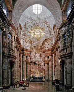 Altar of Vienna Church Cathedral Architecture, Baroque Architecture, Religious Architecture, Beautiful Architecture, Beautiful Buildings, Architecture Design, Palaces, Church Interior, Temples