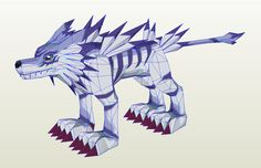 Garurumon Digimon papercraft template by AntyyyPapercrafts on Etsy