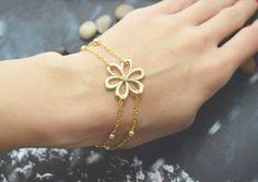C-037 Flower bracelet, Double layered bracelet, Ball chain bracelet, Simple bracelet, Gold plated/Everyday jewelry/