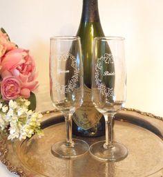 vintage champagne flutes | Vintage Bride and Groom Champagne Toasting Flutes