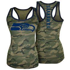 Women's Seattle Seahawks 5th & Ocean by New Era Camo Racerback Tank Top