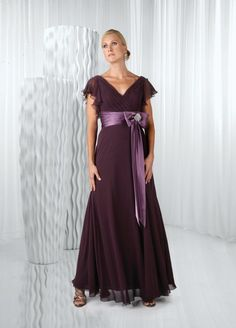 A-line V-neck Ruched Bodice Sash Beaded Bow Chiffon Mother Of The Bride Dress-mob0041, $184.95