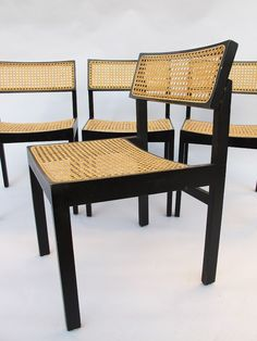 Willy Guhl; #3100 Lacquered Wood and Cane Chairs for Dietiker Swiss, c1960.