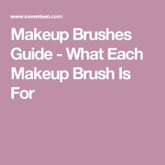 Makeup Brushes Guide  - What Each Makeup Brush Is For