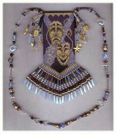 Drama Masks - beaded amulet pattern by Chris Manes of A Muse Ink Beadwork Designs