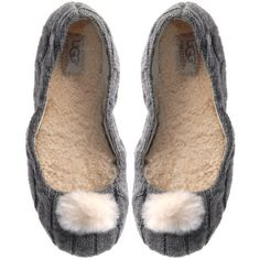 Ugg Slipper Nightengale Grey Grey Knitted House Slipper ($79) ❤ liked on Polyvore