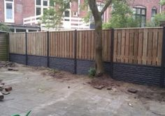 Schutting gebroken steen motief luxe hout beton schutting antraciet 2