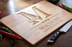 Personalized Cutting Board Engraved Kitchen Home Decor Chopping Wedding Gift Housewarming Anniversary Wood Monogram Custom Cutting Board