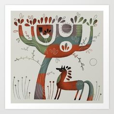 HORSE AND TREE--Terry Runyan Shop:  https://society6.com/product/horse-and-tree77590_print#s6-6141078p4a1v45