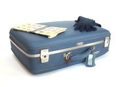 Vintage Suitcase; Blue Suitcase; Vintage Luggage; Travel Theme; Travel Wedding; American Tourister; Vintage Trunk; Underbed Storage; by PurpleMouseStories on Etsy