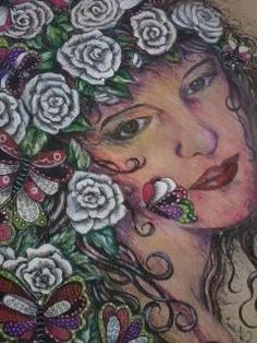De Isabelle Nogueira -  Entre flores e borboletas - 2014 técnica mista