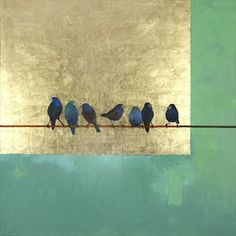 """""""Peaceful Morning"""" by Ellen Welch Granter. x Oil & Gold Leaf. Available at Maine Art Paintings & Sculpture. """"Peaceful Morning"""" by Ellen Welch Granter. 30 x 30 Oil & Gold Leaf. Available at Maine Art Paintings & Sculpture. Gold Leaf Art, Gold Art, Art Feuille D'or, Painted Leaves, Acrylic Art, Beautiful Paintings, Nautilus, Modern Art, Art Drawings"""