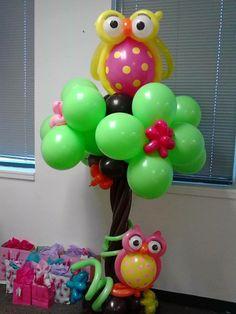 Árbol de búhos hecho con globos - Owl tree made of balloons