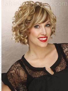 Big Fun Curly Bob with Highlights and Curls Sideswept Bangs Would like to wear this to wedding. Girls, what do you think>