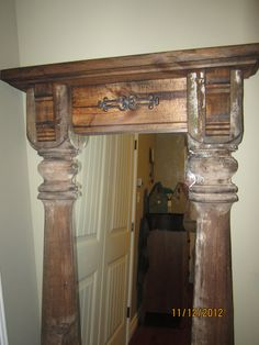 Wall?Standing Mirror repurposed from an antique porch post.....