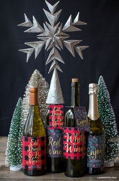 Printable Christmas Wine Bottle Labels