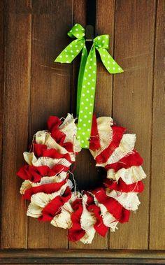 Cute DIY Christmas Burlap Wreath Ornament, Handmade Burlap Wreath For Christmas Tree, Christmas Burlap Decorations