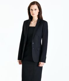 Presenting your failsafe workwear look. Our classic black dress is flattering and stylish, cut with cap sleeves and a square neckline for a timeless style appeal. Layer on the matching jacket for a smart office look. Trouser and skirt suit options also available.