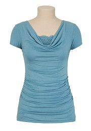 Drape Front Top with Lace - maurices.com