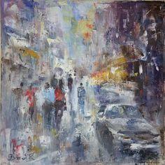 "Saatchi Art Artist Konrad Biro; Painting, ""CITYSCAPE EVENING...."" #art"