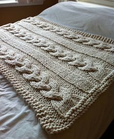 Knitting Patterns Blanket Ravelry: Cable Knit Blanket pattern by Knitting Revolution Cable Knit Blankets, Cable Knit Throw, Knitted Blankets, Super Chunky Yarn, Thick Yarn, Knitted Throw Patterns, Knitting Patterns, Giant Knitting, Extreme Knitting
