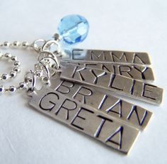 PICK SIX Charm Bead OR Stamped Name Tag Plus a Chain by BusyBree, $30.00