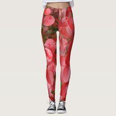 #zazzle #Red #Leafs #Leggings #girl #woman #sport #jogging #fitness #gift #giftidea