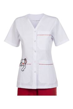 2030 AMBO ABIERTO PERRO COLORADO - BRODERIE Online Cute Scrubs Uniform, Scrubs Outfit, School Pinafore, Stylish Scrubs, Beauty Uniforms, Doctor Coat, Medical Uniforms, Nursing Clothes, Costume