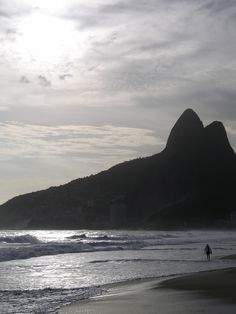 """Ipanema Beach, Rio de Janeiro, Brazil, South America, with Sugarloaf Mountain in the background. """"Pão de Açúcar""""  I went swimming at night on this beach with my High School senior class."""