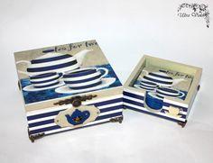 Caja de té exclusivo, caja de té de madera con los prácticos de costa de la taza