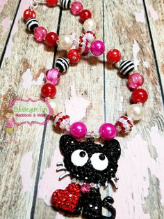 Valentines Kitty Chunky Necklace; Love Necklace; Vday; Handmade Valentines; Sweetheart; Girl; Bubblegum Necklace; Bracelet; Gift; Valentine by BubblegumFunandMore on Etsy