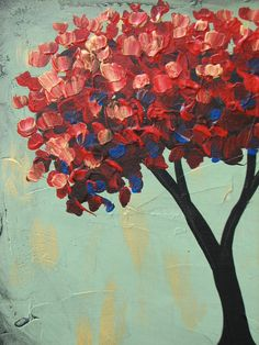 LOVE THIS! Red Tree original acrylic painting on canvas by danlyespaintings